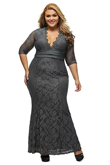 Lalagen Women S Plus Size 3 4 Sleeve V Neck Lace Evening Party
