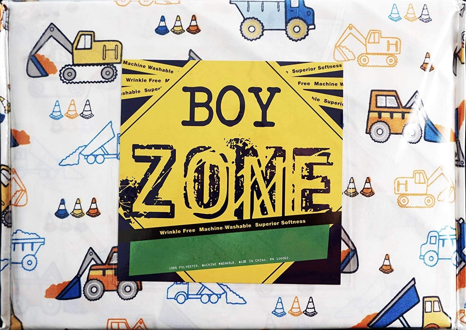 Authentic Kids 3 Piece Twin Sheet Set Cotton Construction Trucks Hoes Tractors Red Blue Yellow White Twin