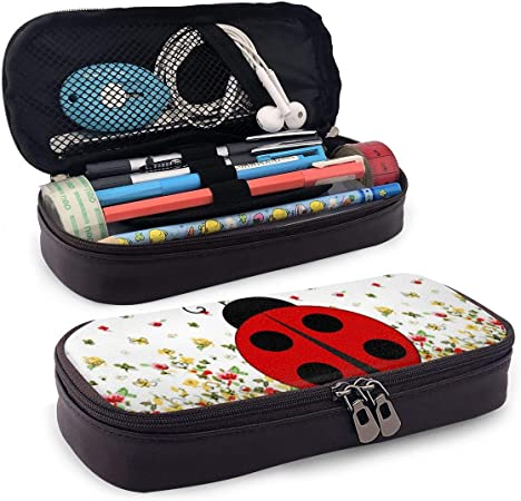 BYTHDA Ladybug - Estuche de Piel para lápices de Maquillaje, Organizador de Escritorio, Soporte para lápices con Cremallera, Negro, Talla única: Amazon.es: Hogar