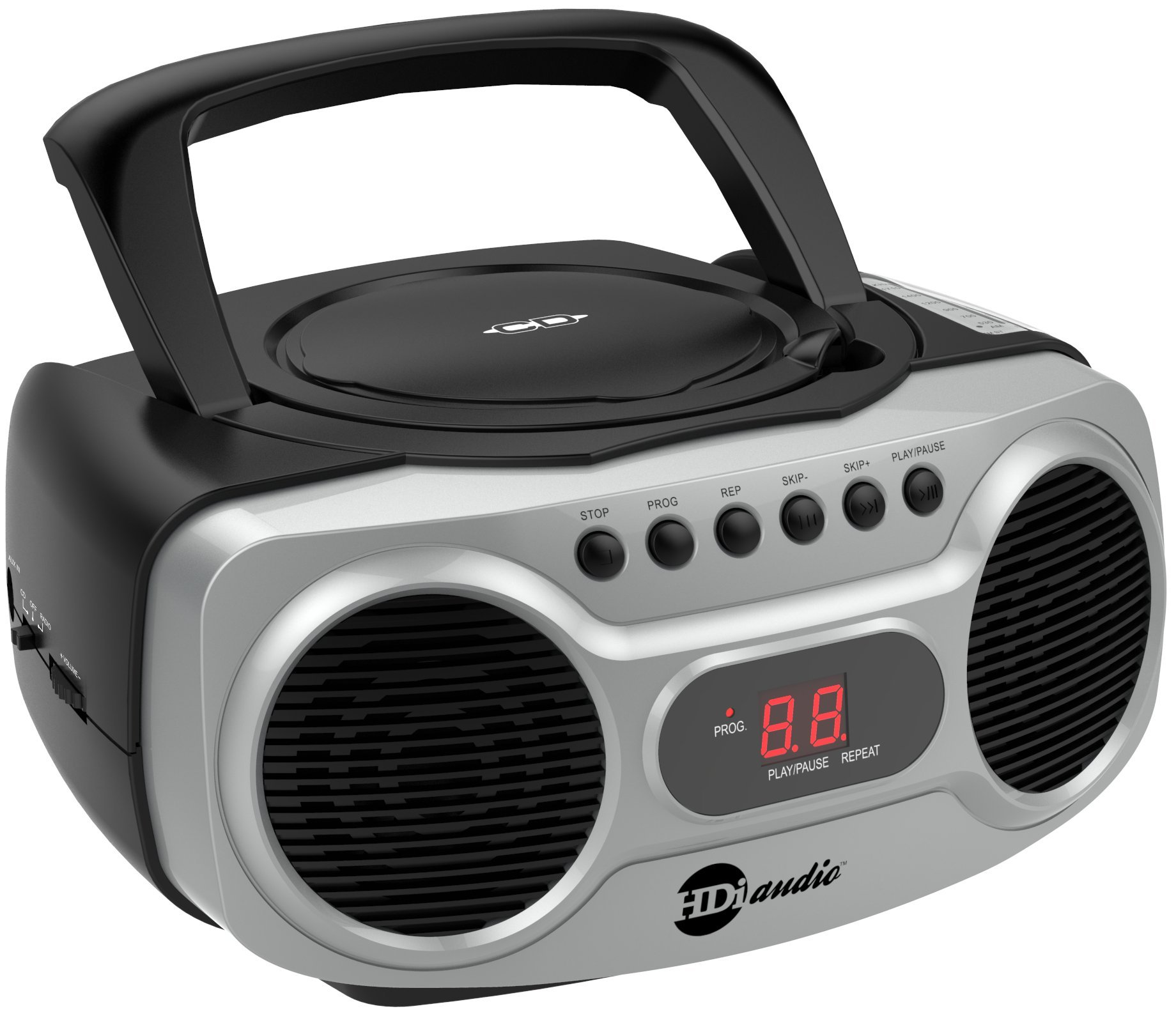 HDi Audio Boombox CD-518 Sport Stereo Portable CD Player with AM/FM Radio and Aux Line-in Boombox Black/Silver by HDi Audio