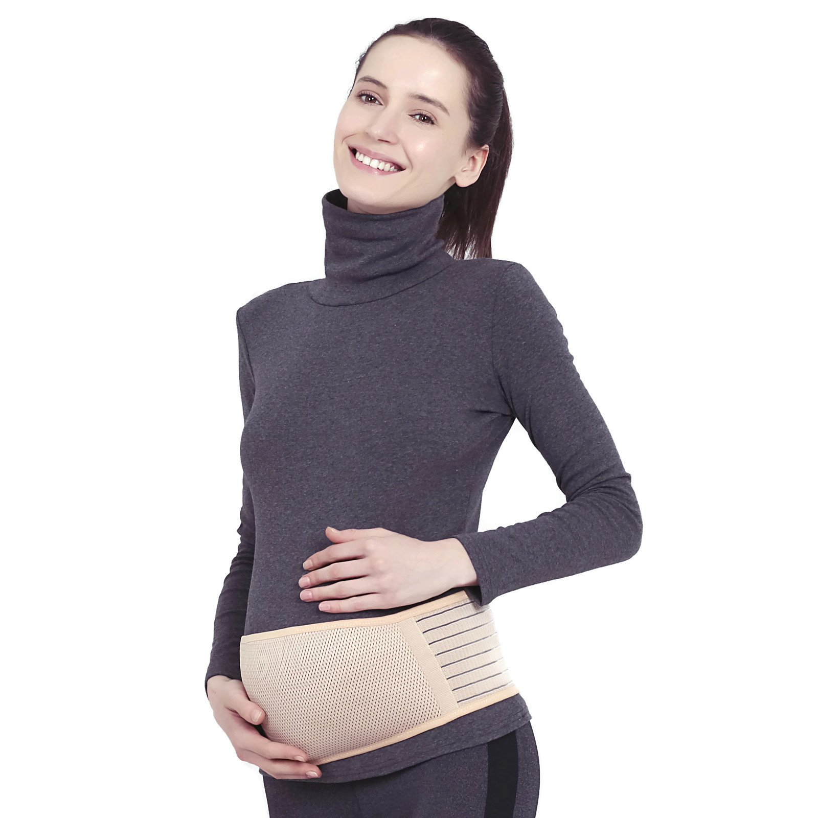 Maternity Belt Support, Pregnancy Support Belt, Belly Band Pregnancy, Effective Pregnancy Back Belly Support & Breathable Abdominal Binder, Beige/One Size by GroovyQueen