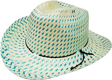 Modestone Boys Straw Cowboy Hat Beige Black Sizes for Small Heads