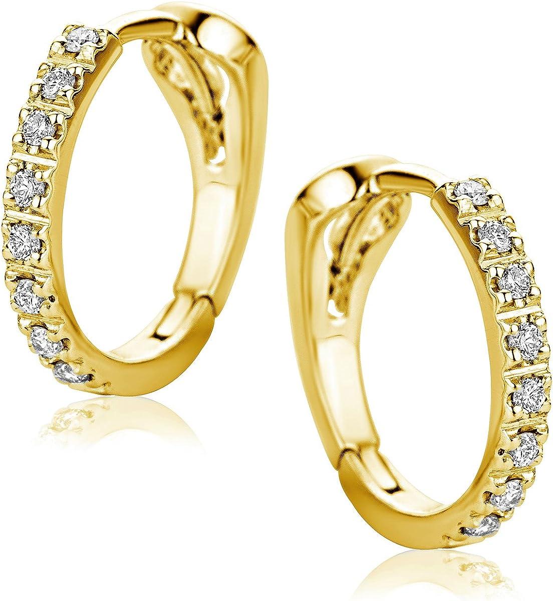 Orovi Pendientes Señora aros en Oro Amarillo con Diamantes Talla Brillante 0.10 ct Oro 18 kt /750