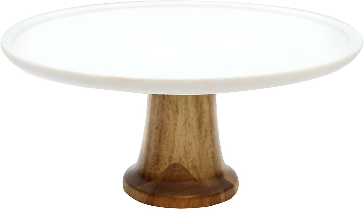 """Tablecraft Elements Collection Cake Stand, 12"""" x 12"""" x 5.5"""", Marble/Acacia"""