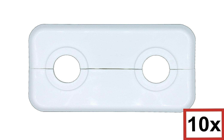 Lot de 10 rosaces doubles pour tuyaux de chauffage 12 mm 14 mm 15 mm 16 mm 17 mm 18 mm 19 mm 21,3 mm polypropyl/ène blanc
