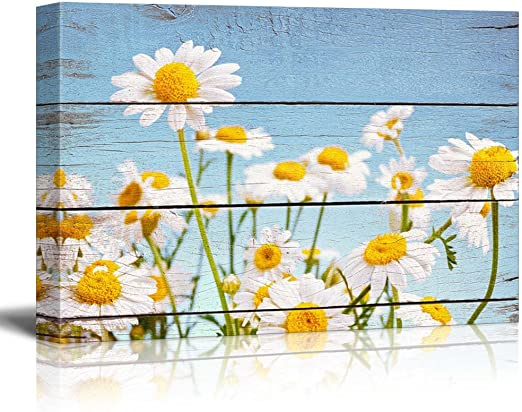 Amazon Com Wall26 Daisy Field In Bright Sun Rustic Floral Arrangements Pastels Colorful Beautiful Wood Grain Antique Canvas Art Home Art 12x18 Inches Posters Prints