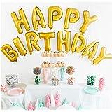 UP Celebrations- Happy Birthday Balloon Banner, 16-inch, Matte Gold Foil