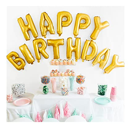 Amazon Happy Birthday Balloon Banner 16 Inch Matte Gold Kitchen Dining
