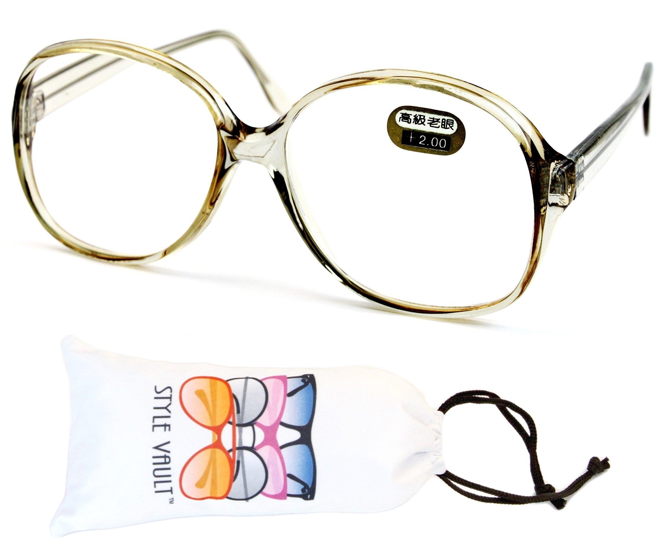 E3035-vp Style Vault Oversized Reading Eyeglasses (B1867F +2.00 Crystal Light-Brown)
