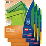 Avery 8-Tab Plastic Binder Dividers, Insertable Multicolor Big Tabs, 3 Sets (11901)