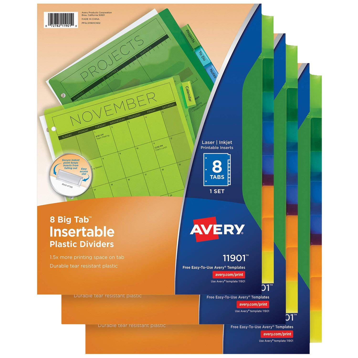 avery 8 tab plastic binder dividers insertable multicolor big tabs 3 sets 11901