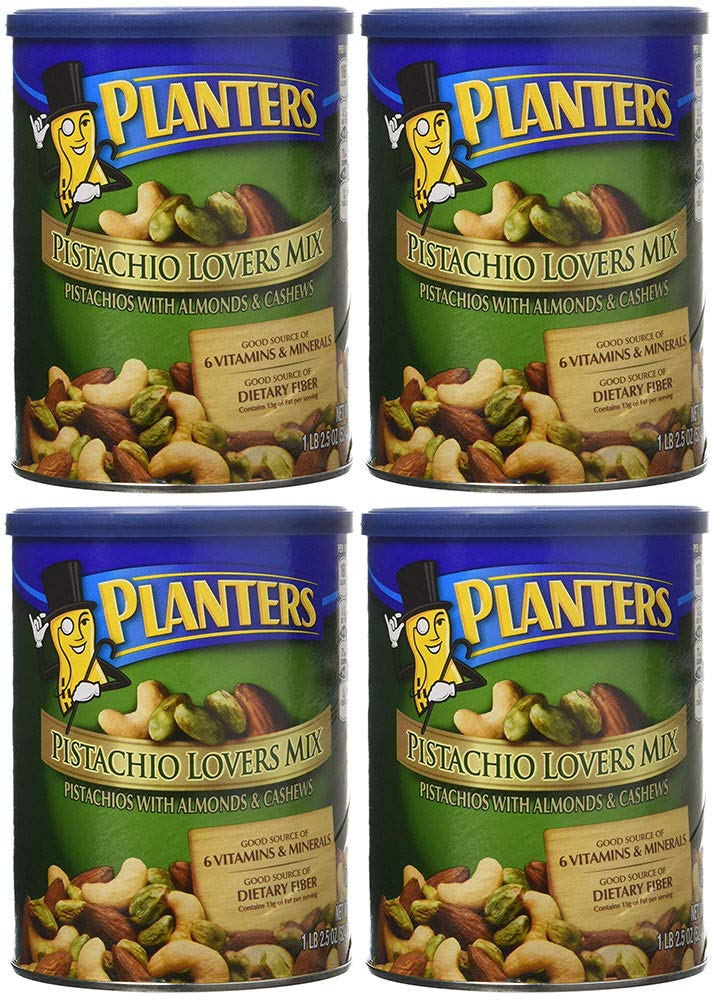 Planters Pistachio Lovers Mix, Salted, 18.5 Ounce, 4 Tubs