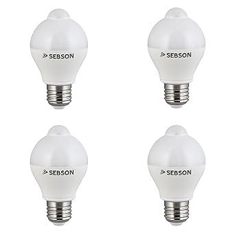 SEBSON® 4x LED Bombilla E27 Sensor, detector de movimiento, sensor crepuscular, 6W