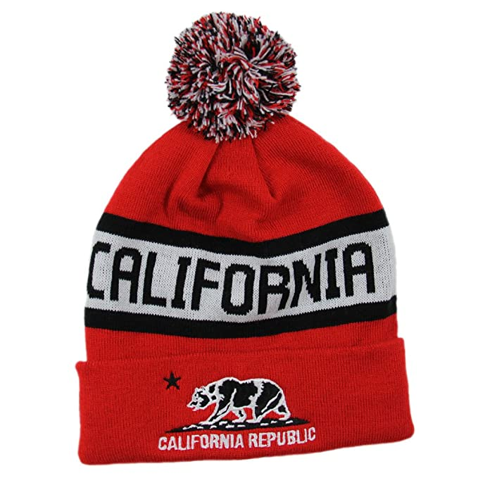 169365308ef Top Level California Republic Fleece Lined Beanie with Pom Pom (Red Black)