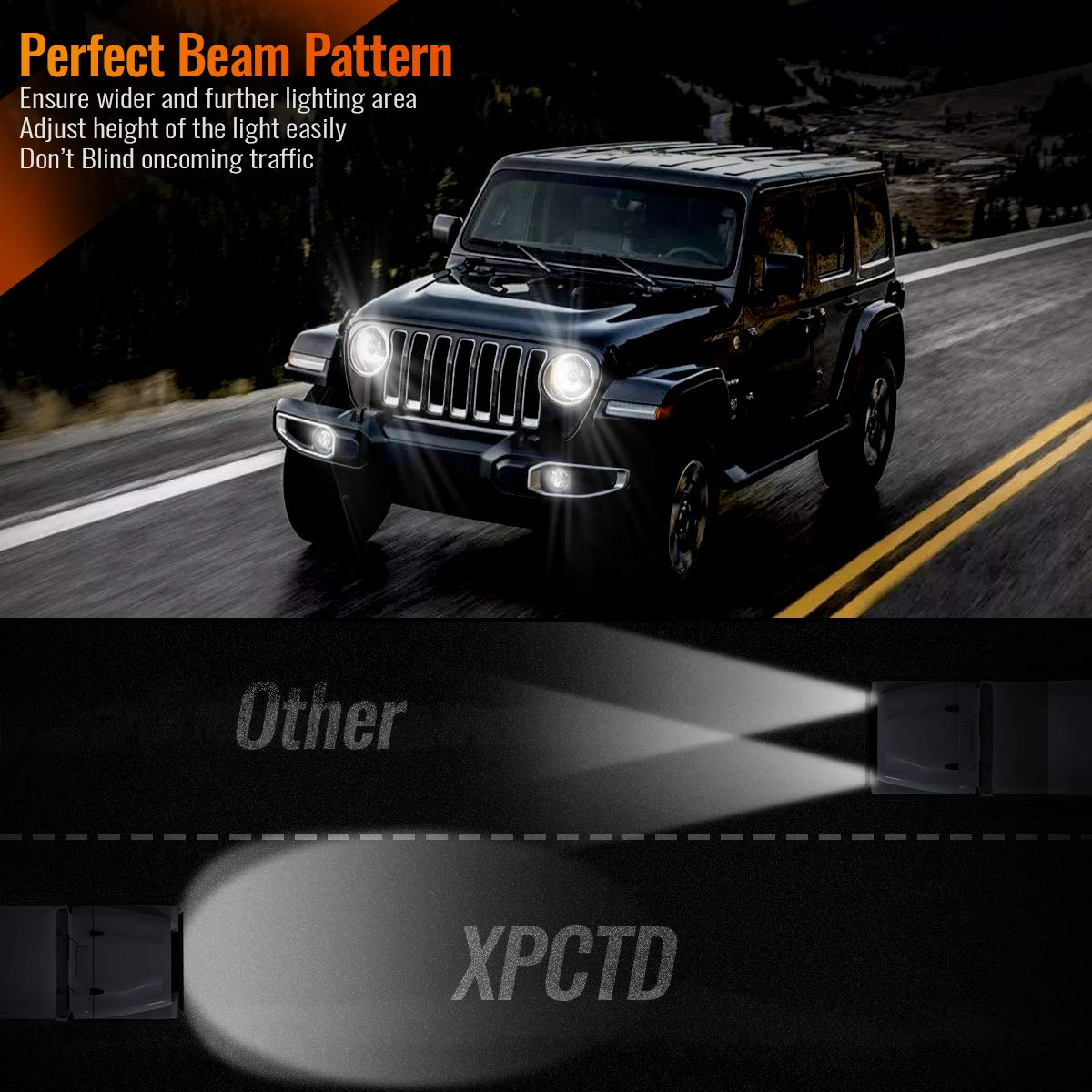 DOT Approved 7 Inch Round LED Headlights with High Low Beam for Jeep Wrangler JK JKU TJ LJ CJ 4 Door 2 Door Hummer H1 H2 H6024 Headlamp Replacement 6 Bulbs 2PCS