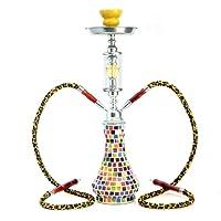 "GSTAR Deluxe Series: 18"" 2 Hose Hookah Complete Set - Retro Mosaic Seurat Glass Vase - (Le Grande Yellow)"