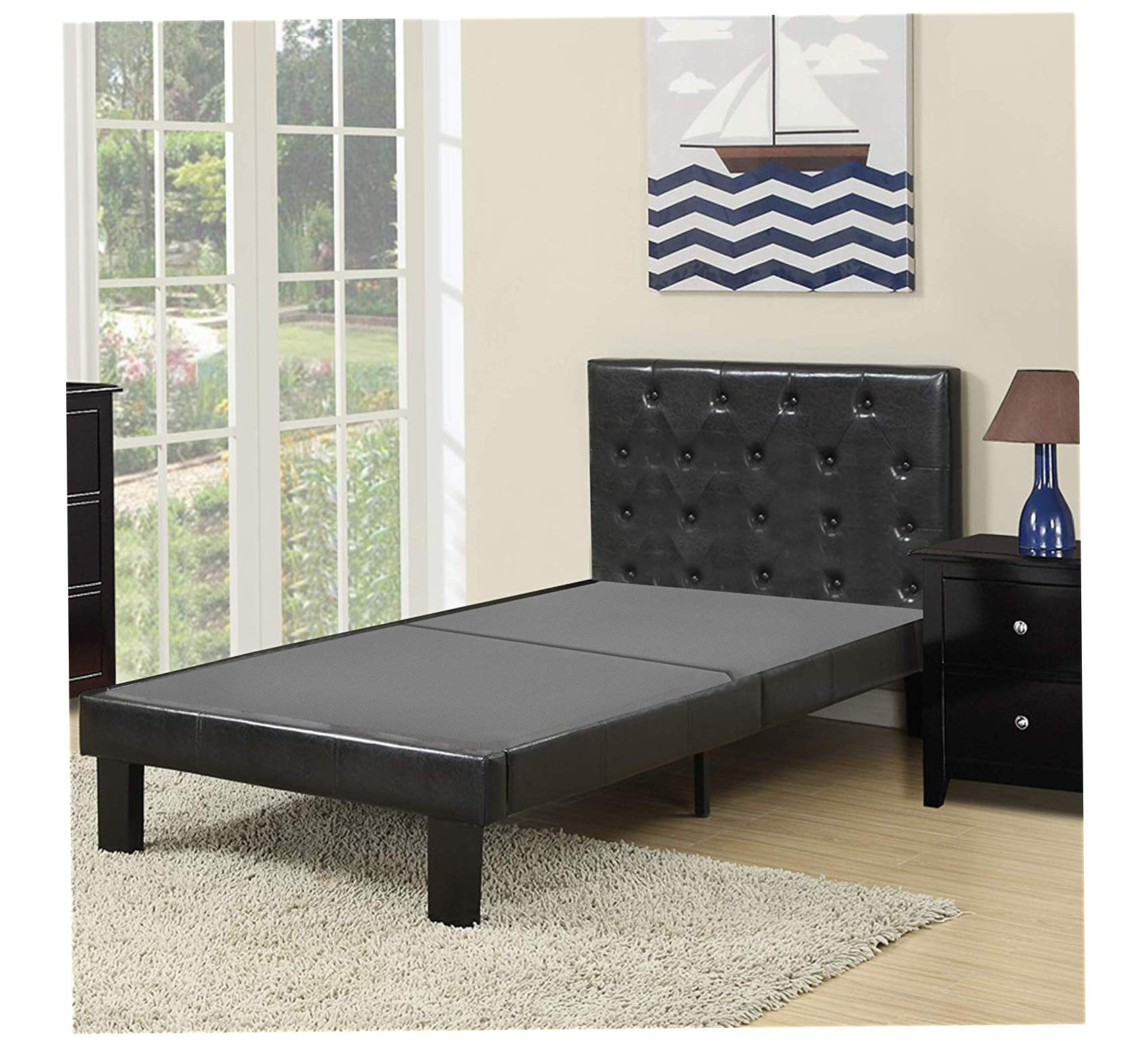 Wood & Style Made in USA Fully Assembled 2 Inch Split Foundation Bunkie Board, Twin, Twin Comfy Living Home Décor Furniture Heavy Duty