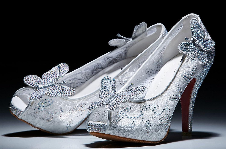 Amazon.com | Littleboutique Lace Wedding Pumps Crystal Stud Bridal ...