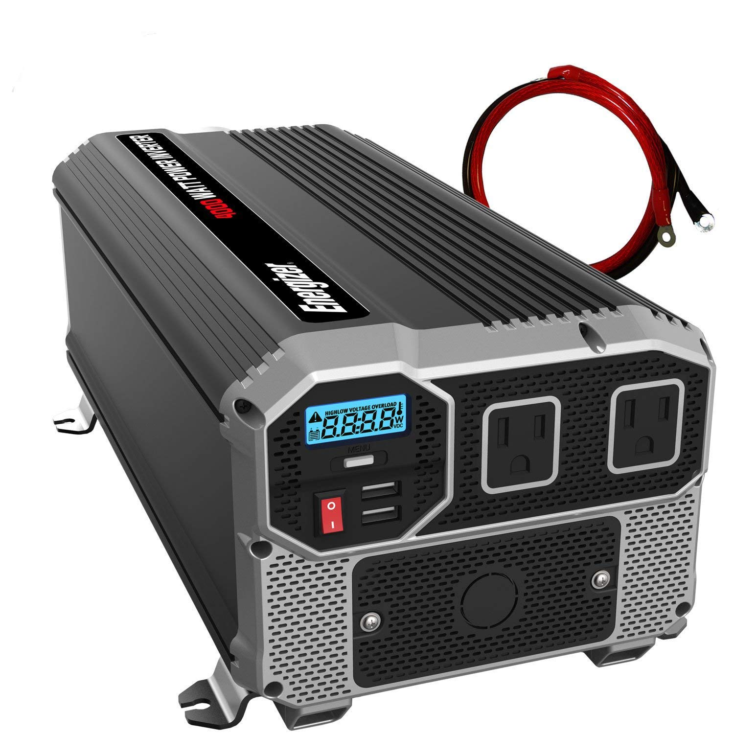 ENERGIZER 4000 Watt 12V Power Inverter, Dual 110V AC Outlets, Automotive Back Up Power Supply Car Inverter, Converts 120 Volt AC with 2 USB Ports 2.4A Each