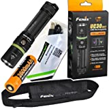 FENIX UC30 2017 version USB Rechargeable 1000 Lumen Cree LED Flashlight with, rechargeable battery, holster and EdisonBright USB charging cable bundle