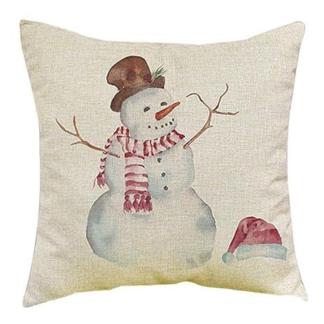 Gotd Light Color Christmas Decorations Snowman Decor Throw Pillow Case Sofa  Waist Throw Cushion Cover Home