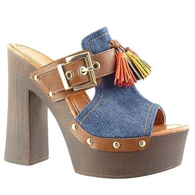 Angkorly Chaussure Mode Sabot Sandale Plateforme Femme Clouté Frange Pom-Pom  Talon Haut Bloc 13.5 fe8ca53d7b8b