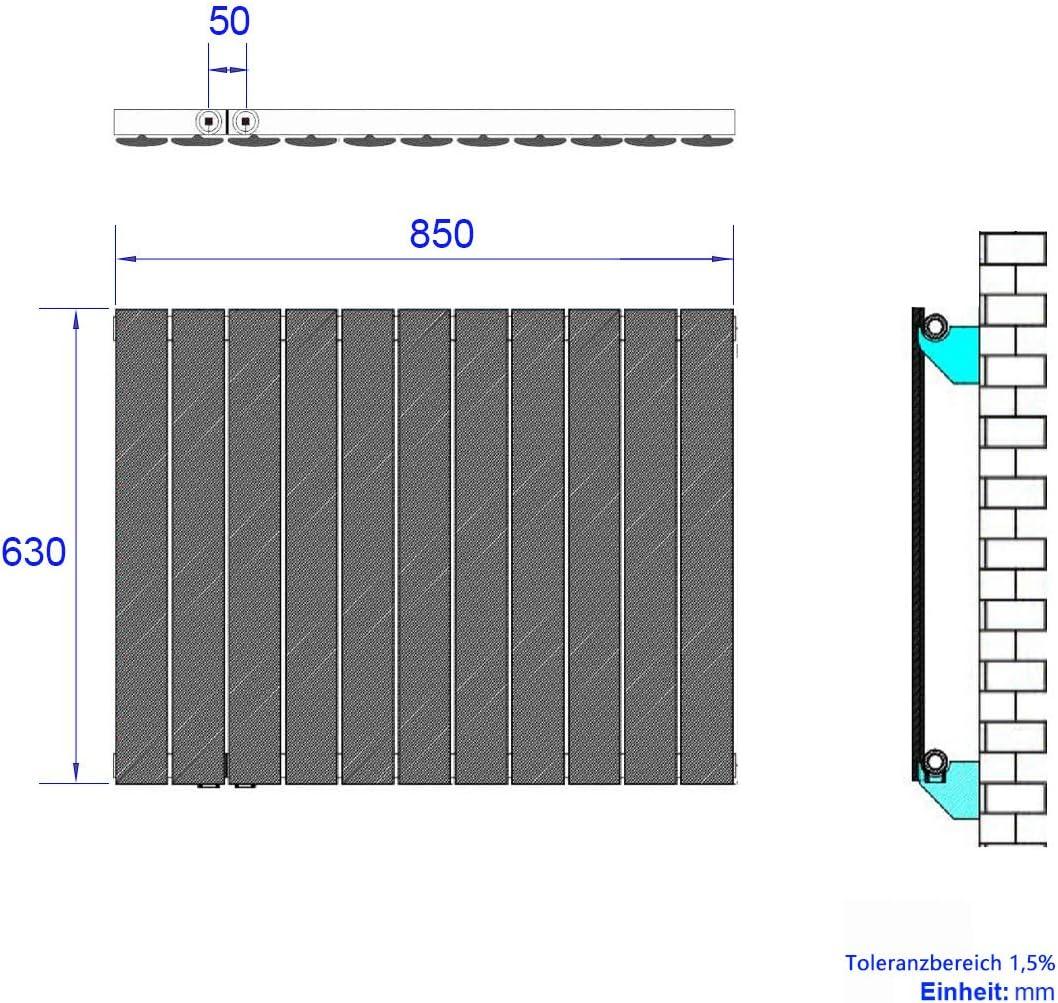 Safeni Design 645 Watt Heizk/örper 630x850mm Flach Heizk/örper Horizontal,Heizwand Paneelheizk/örper Einreihig Heizung,Seitenanschluss Antrazit