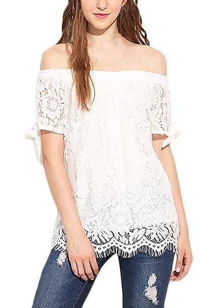 Mujer Camisas Elegantes Verano Niña Blusa De Carmen Blusa Sencillos Especial Shirts Camisas Encaje Women Moda Joven Blanco Anchos Sin Tirantes Manga Corta ...