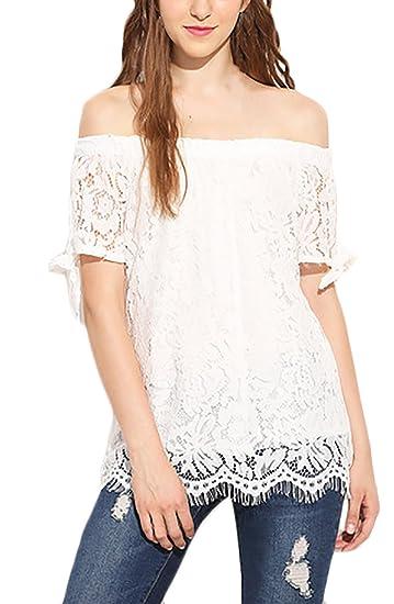 Mujer Camisas Elegantes Verano Niña Blusa De Carmen Blusa Shirts Camisas Encaje Women Moda Joven Blanco