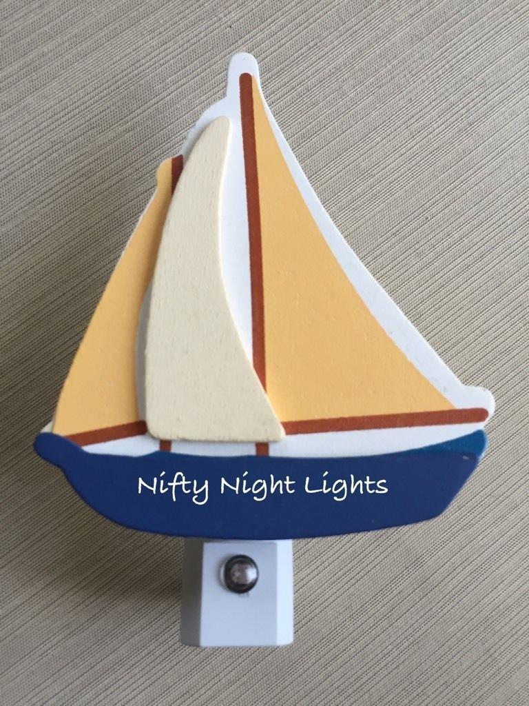 Nursery Night Lights - Night Light, Baby Shower, Nautical Sailboat, Auto On/Off Sensor