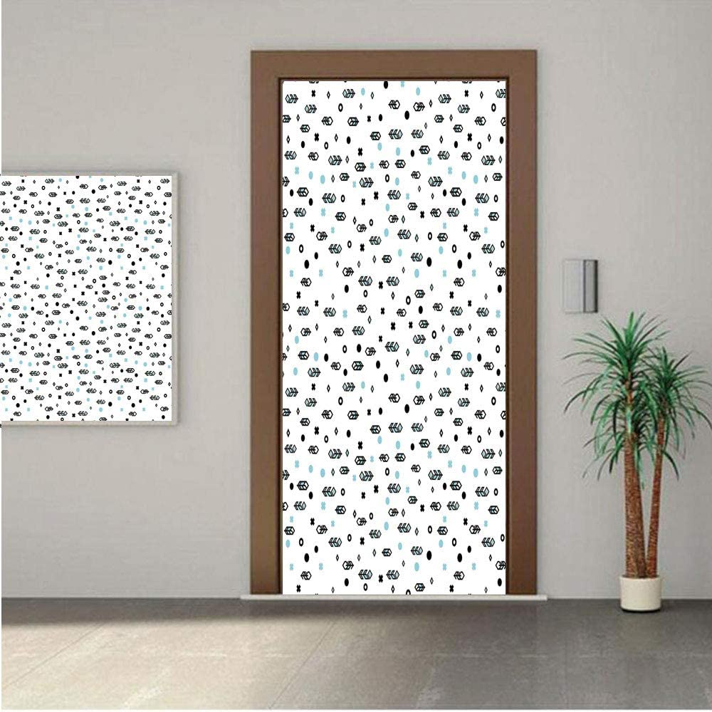 "Feather ONE Piece Door Stickers,Stylish Modern Arrow Feather Icons with Soft Toned Little Spots Dots Design 28x80"" Peel & Stick Removable Wall Mural,Decal,Poster for Door/Wall/Fridge Home Decor"