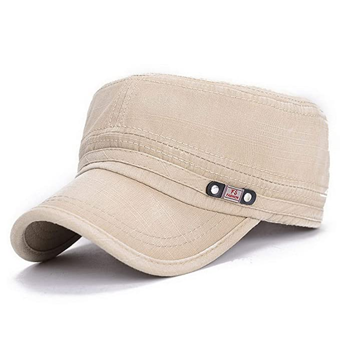 91db27ee17d Vintage Military Hats Cotton Unisex Men Women Flat Top Cap Solid Color  Summer Autumn Spring Visor