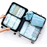 WHT Travel Packing Cubes Luggage Bags Waterproof Suitcase Organizers (6 Pcs Set) Shoe Bag Laundry Bag Toiletry Bag Sock Bag