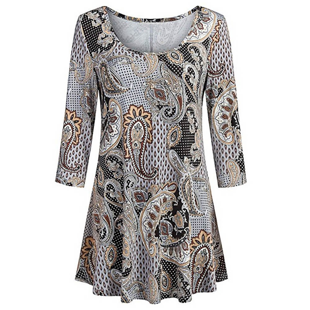 Fashion Womens Casual Floral Print Shirts 3/4 Sleeves O-Neck Tunic Blouse Tops Brown