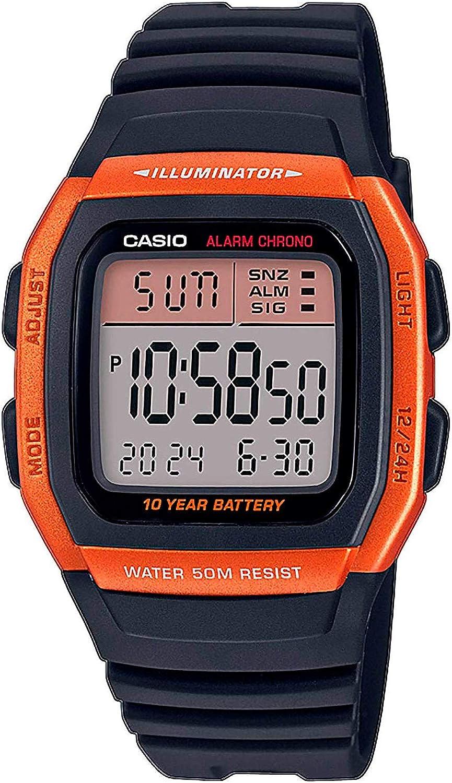 CASIO W-96H - Reloj Digital de Cuarzo con Pulsera de Resina para Hombre
