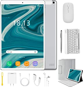 2 in 1 Tablets 10 Inch Android 9.0 with Keyboard Mouse, 4GB RAM+64GB ROM/128GB Upgrade Tablets, Dual SIM 4G, Quad Core, 13MP Dual Camera, 8000mAh, WiFi, GPS, Bluetooth, Google Store Phones (Silver)