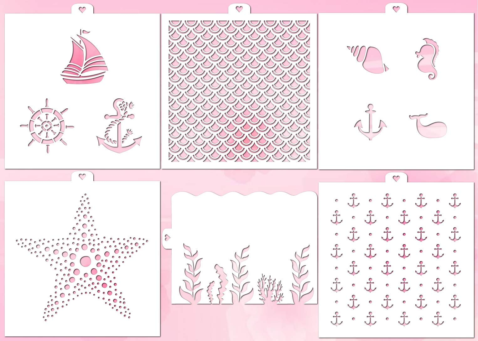 Cookie and Craft Stencil Set Sea, 6 pcs: scales, anchor, algae, waves, marine, starfish by Lubimova.com