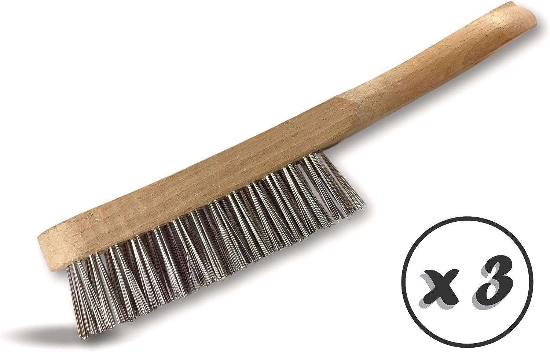 Manche bois Kibros 32I4x3 Garnissage inox 4 rangs fil ondul/é Brosse m/étallique /à main soudeur standard Lot de 3 Brossage /ébavurage d/écapage soudure peinture rouille