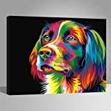Wood Frame, Paint by Numbers DIY Oil Painting Colourful Dog Canvas Print Wall Art Home Decoration by Rihe