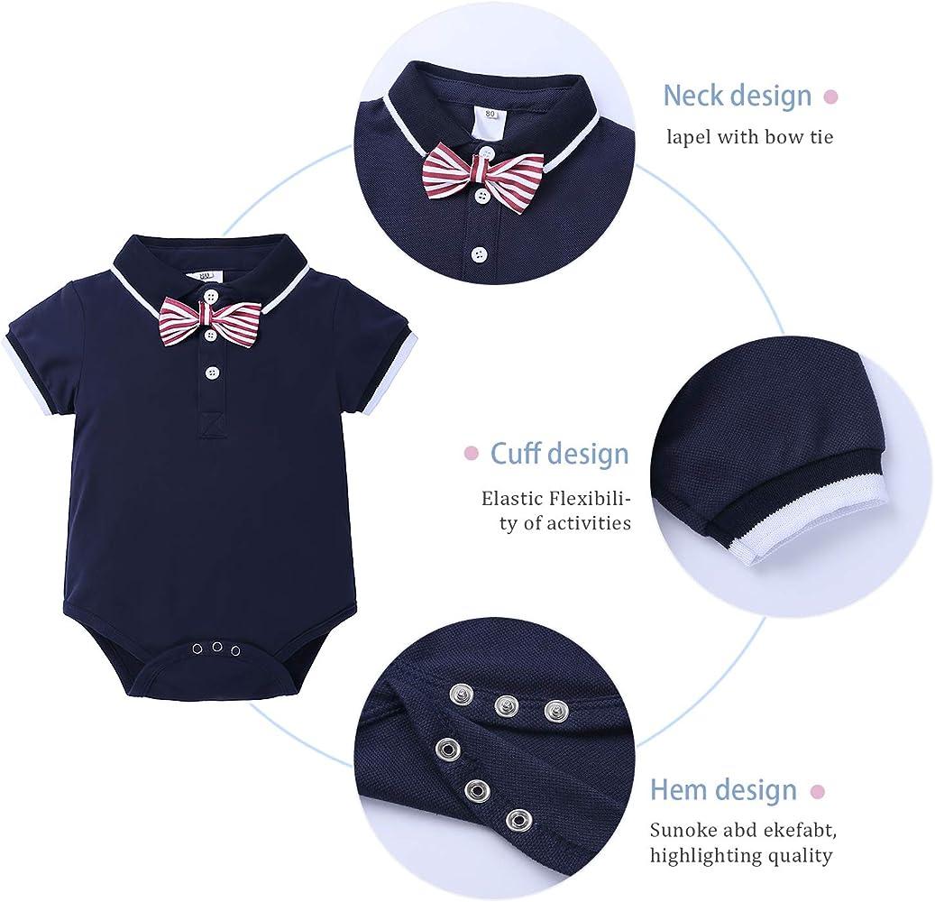Conjunto Niños Bebés Verano Gentleman Camisa Polo de Manga Corta Pantalón Corto Ropa Bautizo de 4 Piezas(Negro,6-9 Meses): Amazon.es: Ropa y accesorios