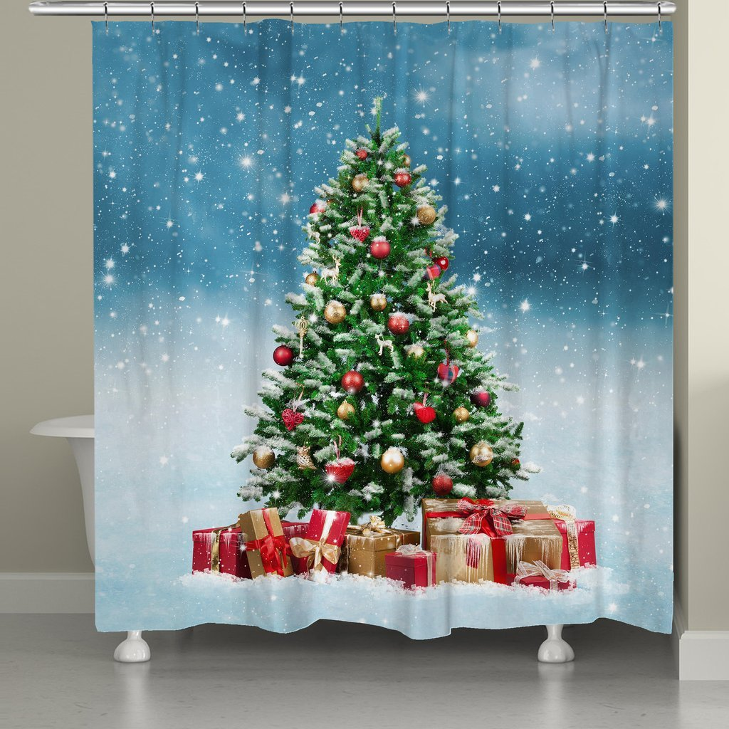 Laural Home Snowy Tree Shower Curtain, Green/Red/Blue