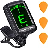 Guitar Tuner, Atmoko Clip-on Tuner for All Instrument, Acoustic Guitar, Ukulele, Violin, Chromatic, Cavaquinho, Large Clear LCD Display, Battery & 3 Guitar Picks Included, Auto Power-Off