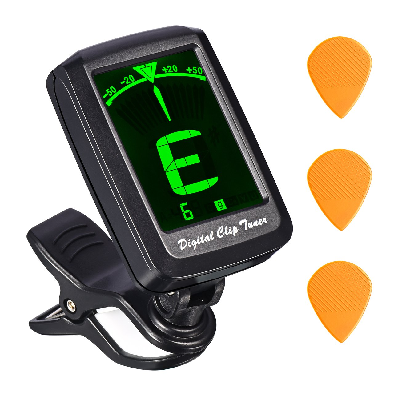 Guitar Tuner, TopElek Clip-on Tuner for All Instrument, Acoustic Guitar, Ukulele, Violin, Chromatic, Cavaquinho, 360 Degree Rotating, Auto Power-Off, Fast & Accurate Tuner with Battery & 3 Guitar Pick
