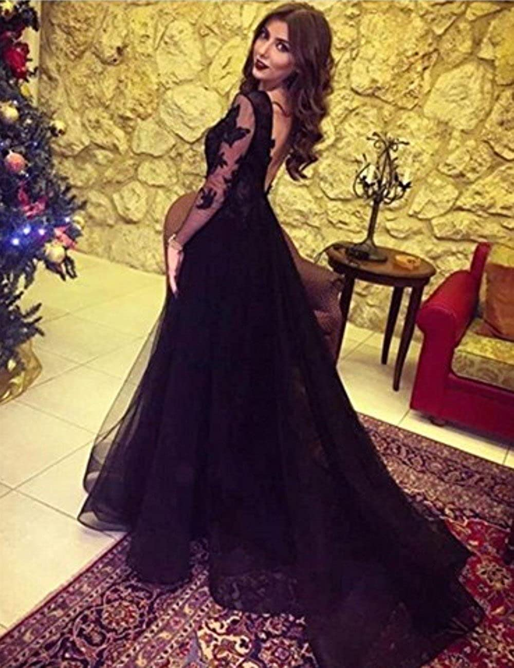 MariRobe Womens Sequins Beaded Long Sleeves Lace Appliques Illusion Tulle Evening Dress