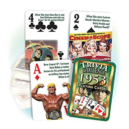 Amazon.com: 1953 Trivia cartas: 65th regalo de cumpleaños o ...