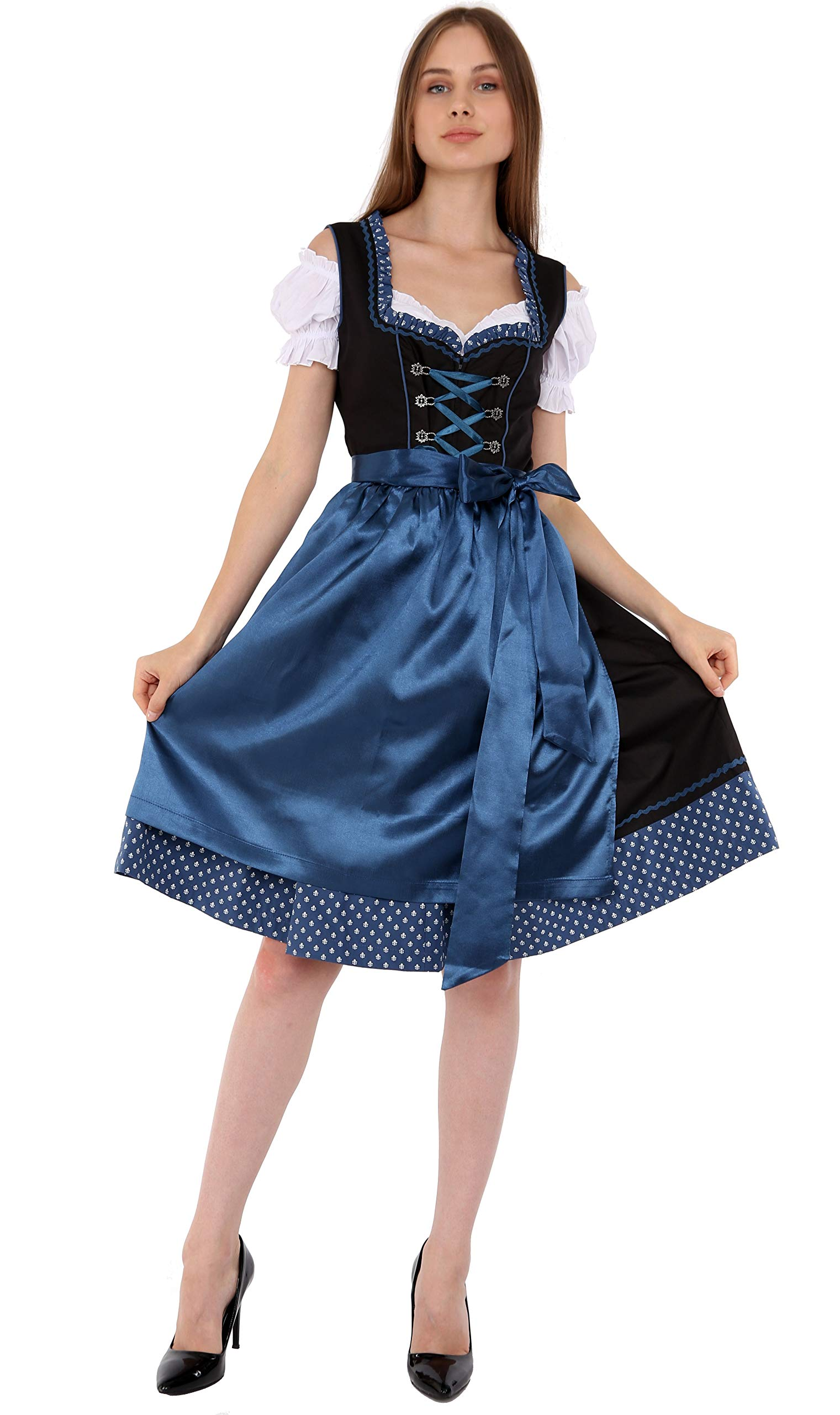 01302 Dirndl 3Pcs Oktoberfest German Dress - Available Sizes: 36.38.40.42.44.46.48.50.52 (48) Blue by LfS