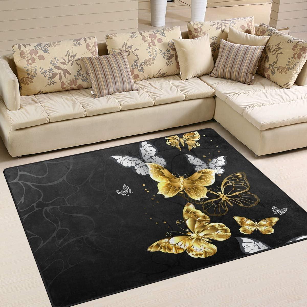 Agona Gold White Butterflies Black Area Rug 5x7 Soft Large Area Rugs Indoor Modern Floor Carpet No Shedding Non Slip Rectangle Mat For Living Room Entryway Bedroom Kids Room Home Kitchen