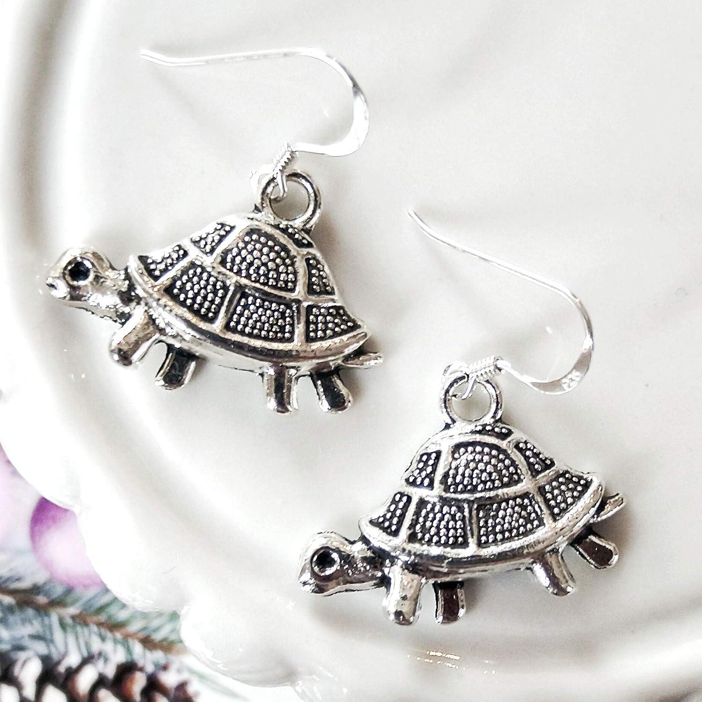 womens jewellery tortoise fans gift Tortoise earrings 925 silver ear wires