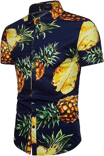 Camisa Hawaiiana Hombre Casual Estampado de Piña Manga Corta para la Playa, Fiestas, Verano y Vacaciones Azul Oscuro M: Amazon.es: Ropa y accesorios