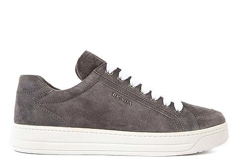 Prada scarpe sneakers donna camoscio nuove grigio  Amazon.it  Scarpe e borse 0950555af17